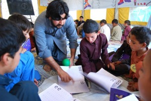 Students at the Jalozai refugee camp in Pakistan.